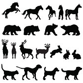 A group of animal silhouettes including horses, bears, deer, rabbits, dogs and a cat.