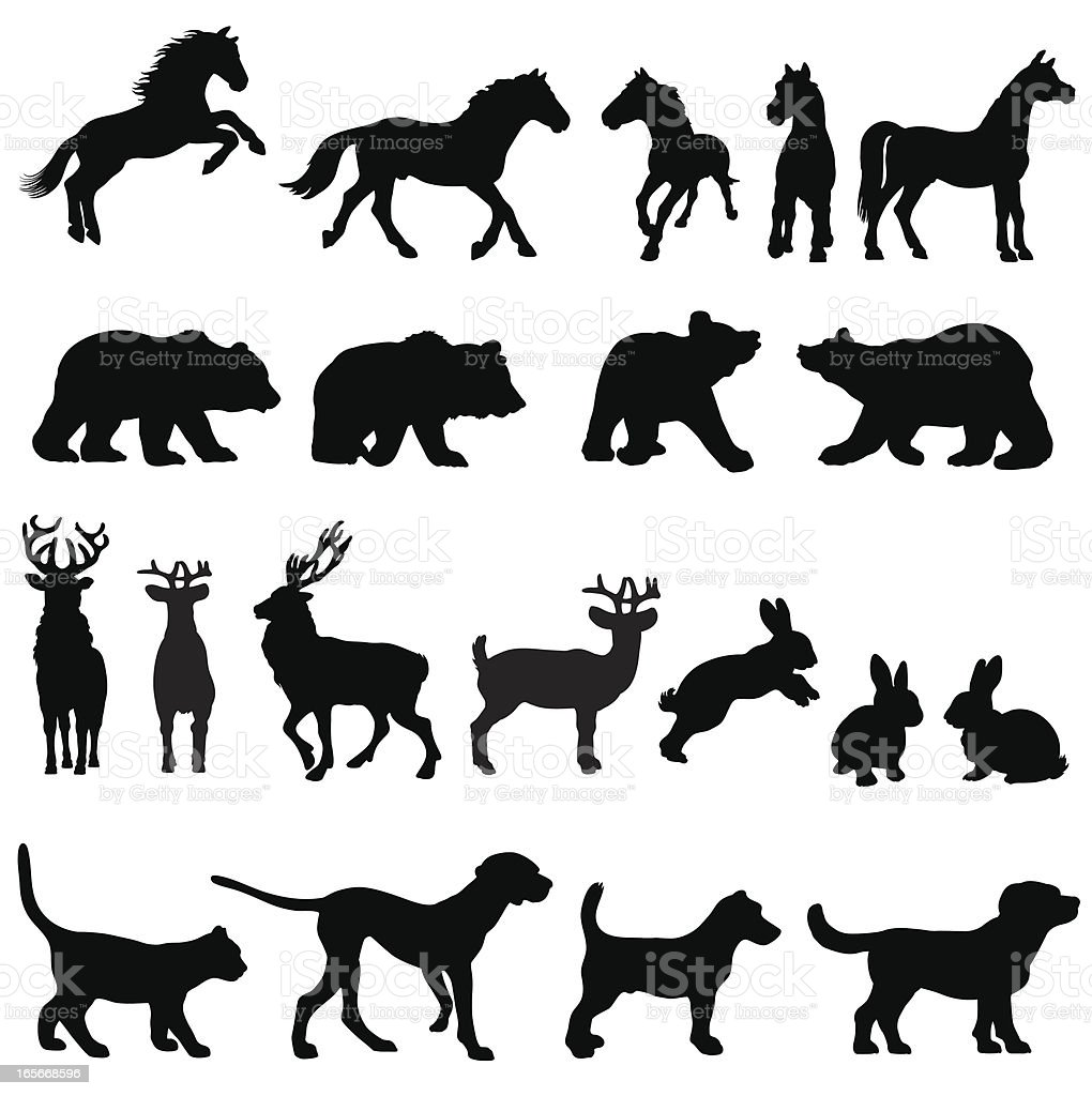Countryside animal group silhouettes vector art illustration