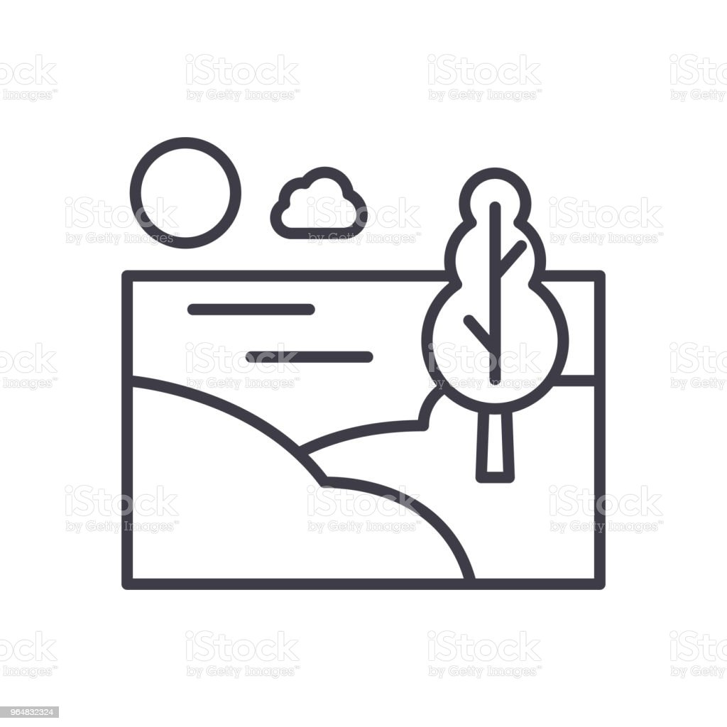 Countryside area black icon concept. Countryside area flat  vector symbol, sign, illustration. royalty-free countryside area black icon concept countryside area flat vector symbol sign illustration stock vector art & more images of architecture