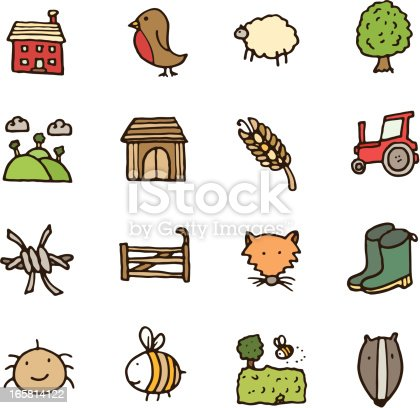 Countryside doodle icon set