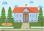 Countryside family eco house on the nature. Vector illustration.