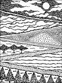 Countryside farm agriculture village sketch hand drawn vector illustraion design