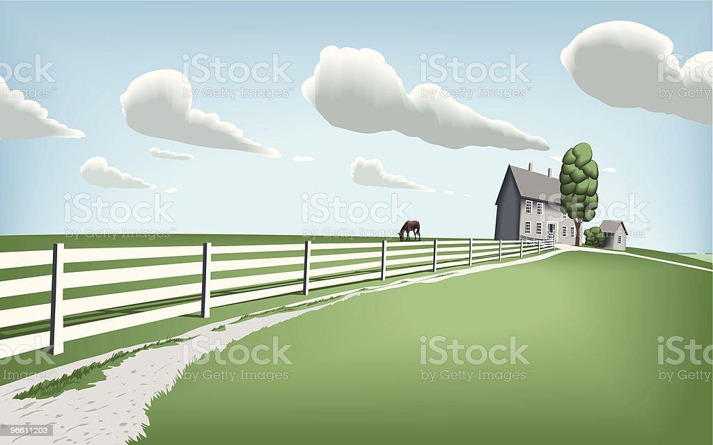 Countryside Home with Horse Pasture - Royaltyfri Arkitektur vektorgrafik