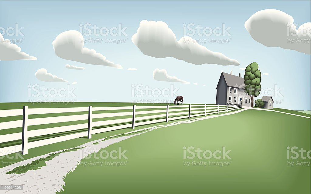 Countryside Home with Horse Pasture vector art illustration