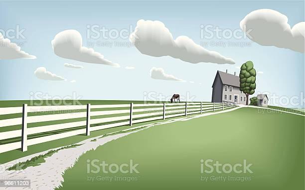 Countryside Home With Horse Pasture-vektorgrafik och fler bilder på Arkitektur