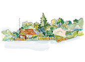Countryside house banner with trees - design for the card or cover. Vector graphic illustration