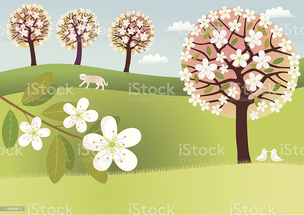 Countryside in blossom royalty-free stock vector art