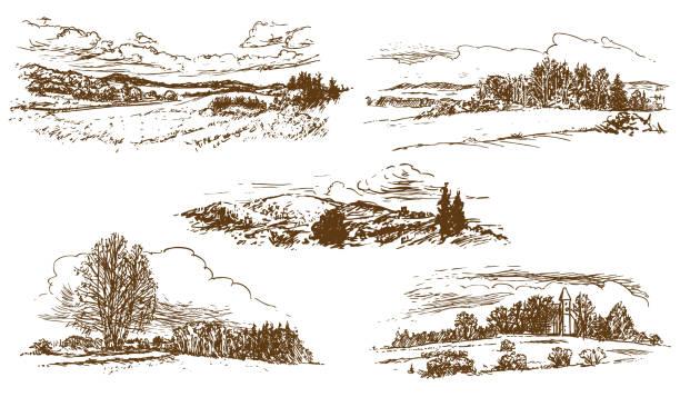 countryside landscape vector art illustration