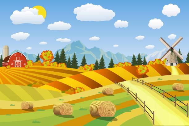 ilustraciones, imágenes clip art, dibujos animados e iconos de stock de countryside landscape with haystacks on fields. - straw field