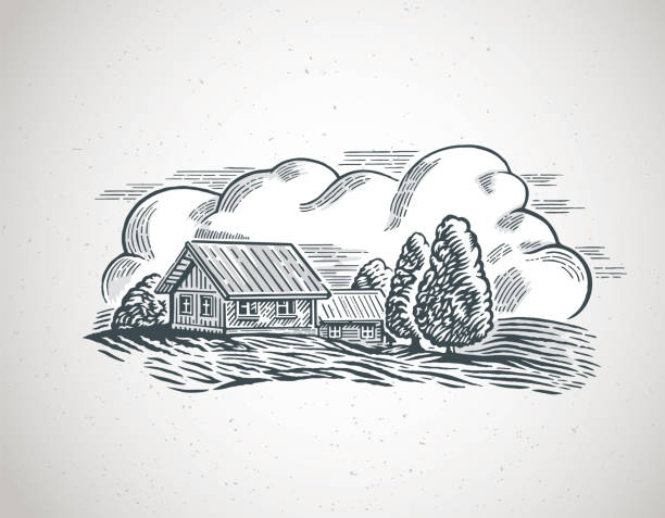 Countryside landscape with village vector art illustration