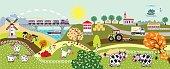 countryside life children illustration