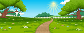 Vector landscape illustration. Countryside background including meadow, path, trees, grass and flowers.