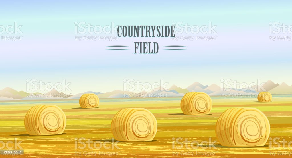 Countryside. Rural area. Fields with haystacks vector art illustration