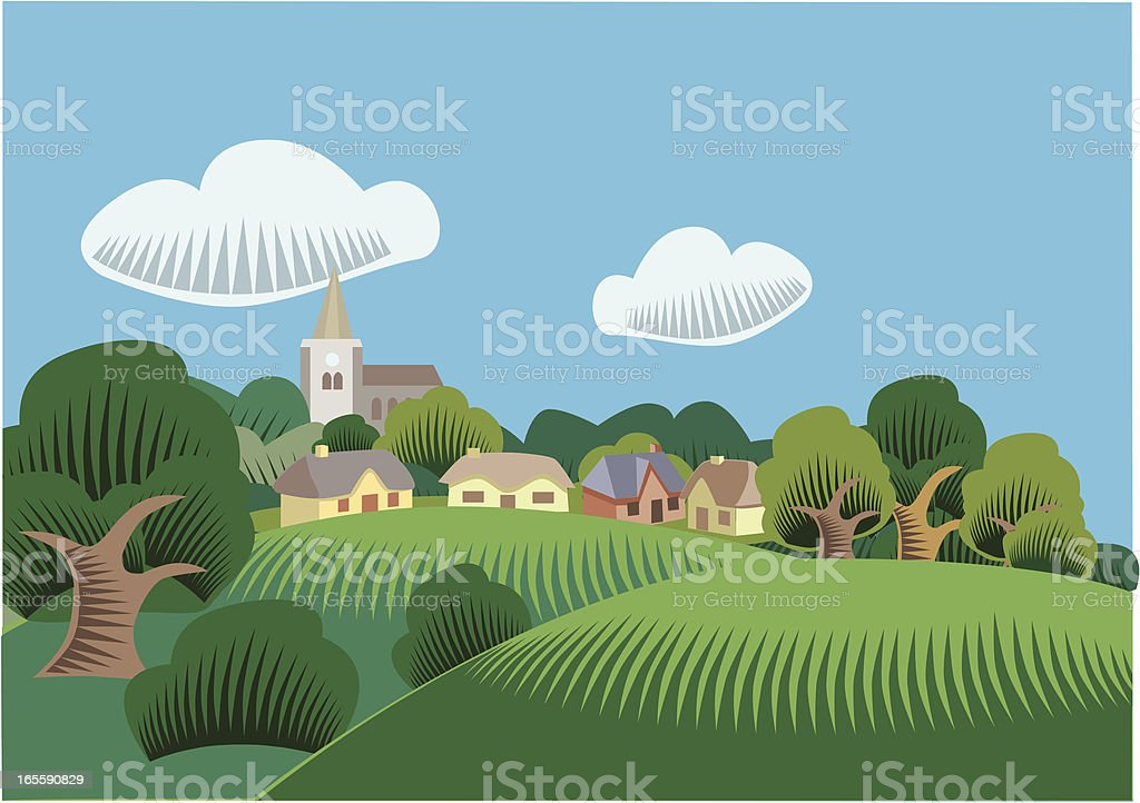 Countryside scene vector art illustration