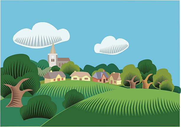 landschaft szene - landhaus stock-grafiken, -clipart, -cartoons und -symbole