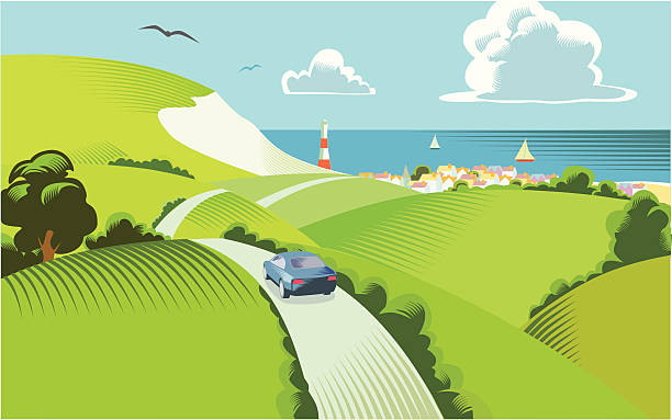 сельской сцены - road trip stock illustrations