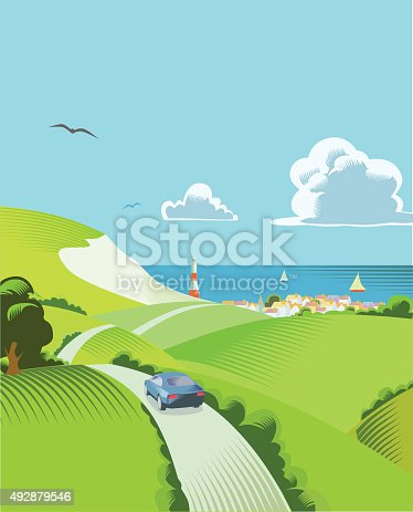English landscape with a car driving towards coast in the distance - traditional crosshatch style