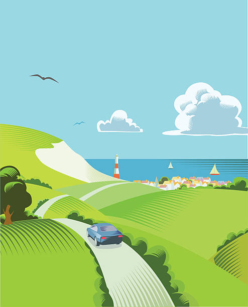 countryside scene with car - uk travel stock illustrations
