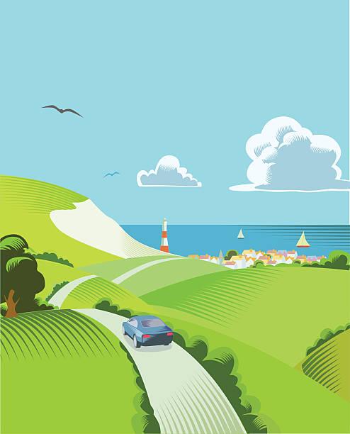 ilustraciones, imágenes clip art, dibujos animados e iconos de stock de escena rural con de - viaje a reino unido