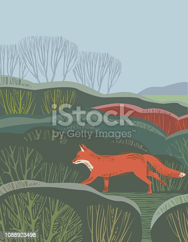 Rural scene in hand crafted wood cut print style