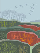 Countryside scene in hand crafted wood cut print style.