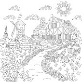 Countryside scene with mansion, windmill, well, mailbox, rabbits, bird, grape vines. Freehand sketch for adult coloring book page.