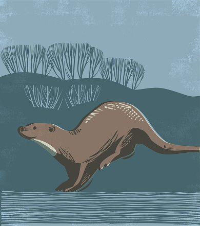 Countryside scene with Otter