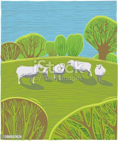 istock Countryside scene with Sheep 1088930826