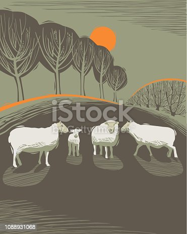 istock Countryside scene with Sheep 1088931068