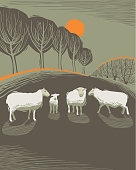 Rural scene in hand crafted wood cut print style.
