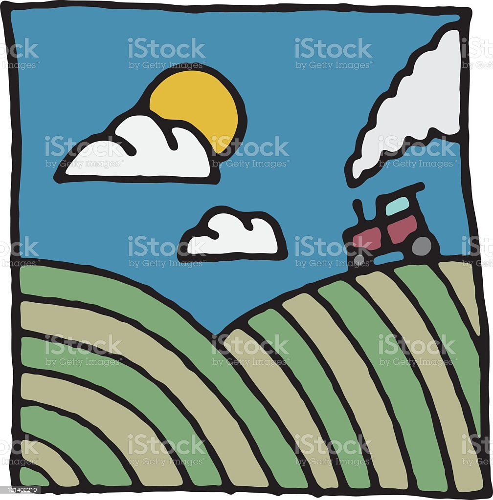 Countryside scene with tractor royalty-free stock vector art