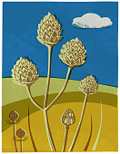 Rural scene in hand crafted wood cut or lino cut print style.