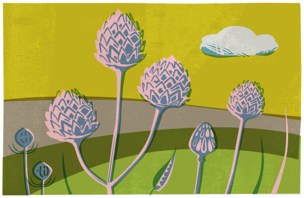 Countryside scene with Wild Flowers and seed heads Rural scene in hand crafted wood cut or lino cut print style. linocut stock illustrations