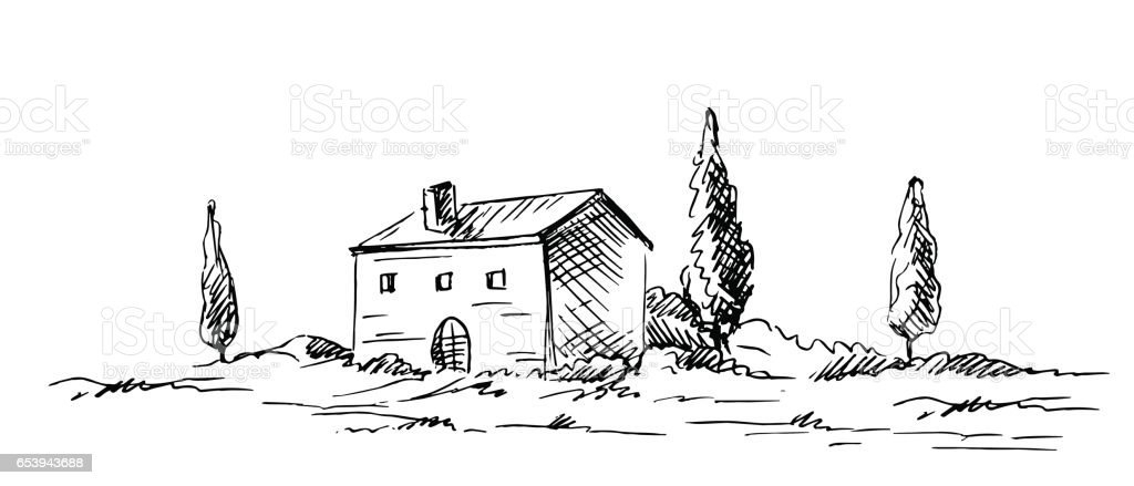 Countryside sketch vector art illustration