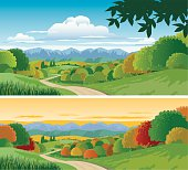 Countryside scene with Road, Fields with Autumn Trees and a Background of Mountains at Sunset. 2 versions with interchangeable and scalable elements on separate and grouped layers.