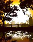 Illustration of Countryside with reflection in a water