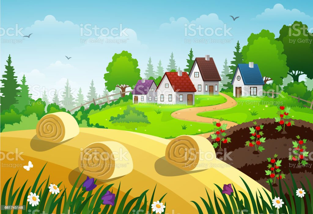 Countryside village stock vector art 681745148 istock countryside village royalty free stock vector art sciox Image collections
