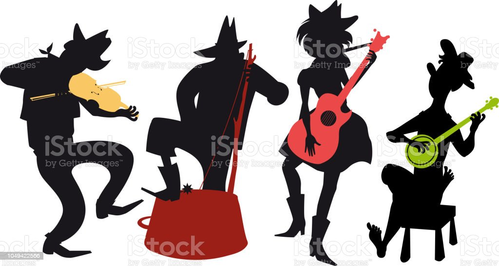 Country-western band vector art illustration