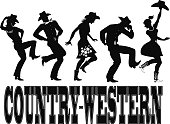Country-western dance silhouette banner