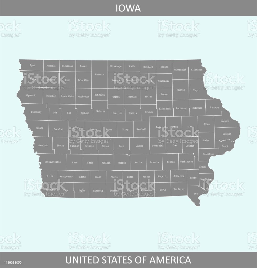 County Map Of Iowa State Of Us Iowa Counties Map Vector Outline ...