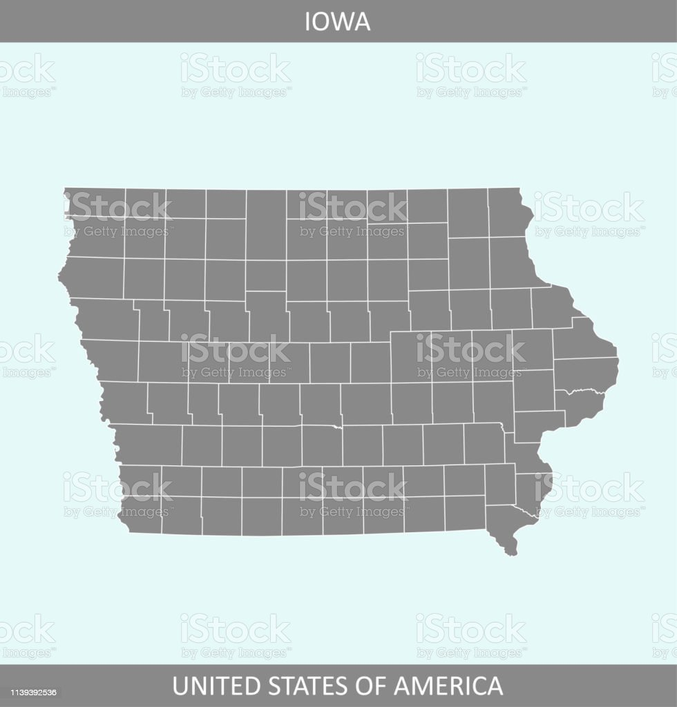 County Map Of Iowa State Of Usa Iowa Counties Map Vector ...