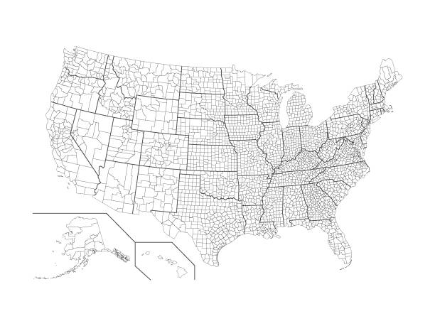 미국 카운티 지도 - 미국 stock illustrations