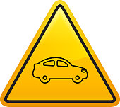 Coupe Car Side View Icon. This 100% royalty free vector illustration is featuring a yellow triangle button with rounded corners. The surface of the button is shiny and has a light effect on top. The main icon is depicted in black. There also a thin black outline around the edges of the triangle.