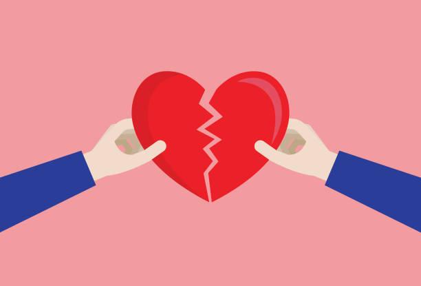 stockillustraties, clipart, cartoons en iconen met paar een gebroken hart - liefdesverdriet