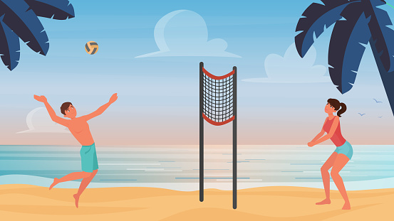Couple active people play beach volleyball, throw inflatable ball, playing sport game