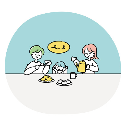 Couple and baby eating