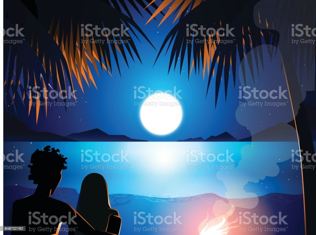 couple and campfire in beach vector art illustration