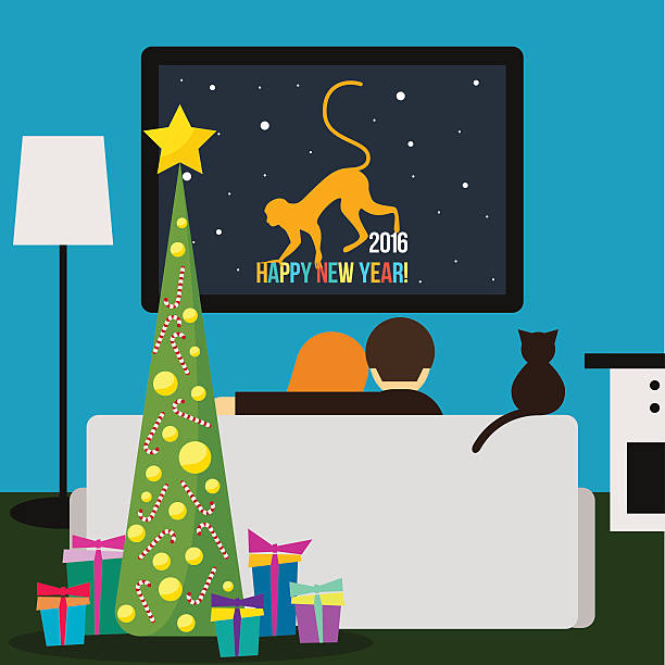 couple and cat watching television happy new year card template vector art illustration