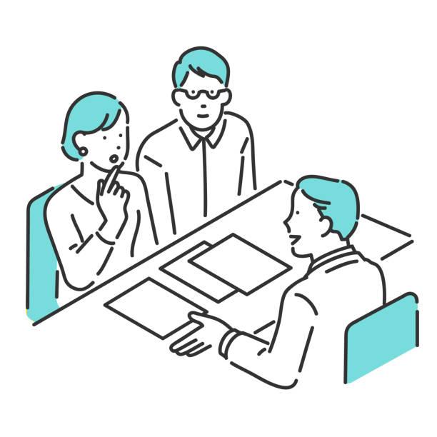paar- und kundenservice-mitarbeiter am schalter - meeting stock-grafiken, -clipart, -cartoons und -symbole