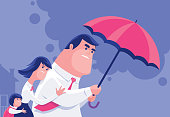 vector illustration of couple and daughter with umbrella